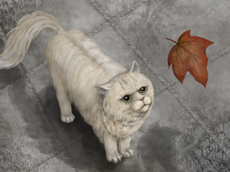 Cat and falling leaf by SandraMichon-SendArt