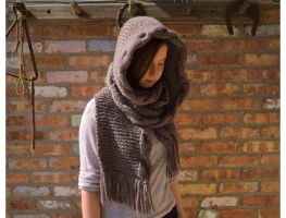 Hand Knitted Hooded Cable Scarf by Tessa4244