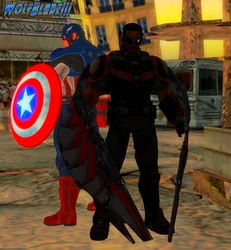 Captain America and Falcon. by WOLFBLADE111