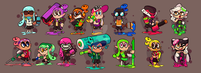 Splatoon Squid Stickers by Ionic-Isaac