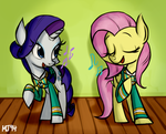 Singing Rarity and Fluttershy from Ponytones! by KimGoma