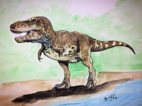 T.rex Sketch (Colorized)  by DinoHunter000