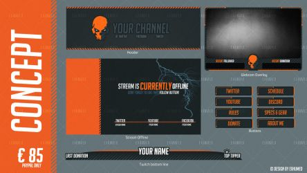 Twitch Stream - Orange Skull by Exhumed by 3xhumed