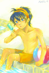 Narancia at the pool by chibicomadreja