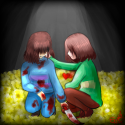 Chara and Frisk | Undertale -You did it very well- by LunaSyney