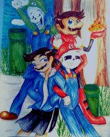 Super Mario Skeleton brothers by SnowShine5