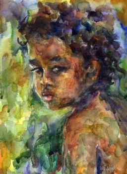 Watercolor painting 'Boy' by SvetlanaNovikova