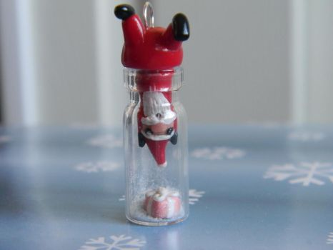 Santa Stuck In A Bottle-Polymer Clay by ThePetiteShop