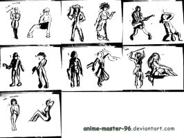 1000 Gesture Drawing Challenge - 1 to 14 by anime-master-96