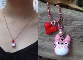 Pink totoro charm necklace by yael360