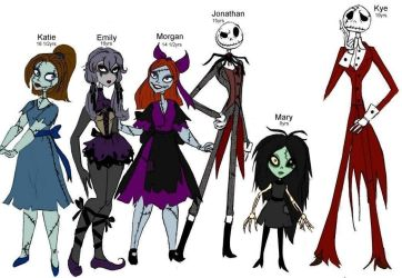 Skellington kids coloured by Lily-pily