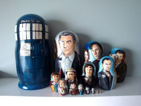 Set of Fifteen Doctor Who Nesting Dolls by bachel60