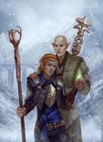 Lavellan and Solas by IcedWingsArt