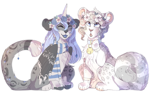 Snowly Leopard Friendos! by Felispirit