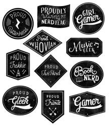Geek Badges Black and White Version by fantasy-alive