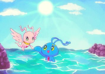Manaphy and MarineAngemon by izumi07