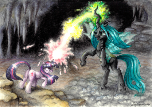 Duel in the cave by Drawirm