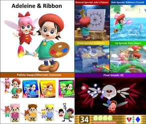 Dream Smashers #1: Adeleine and Ribbon (Kirby) by Mega-Turtle64