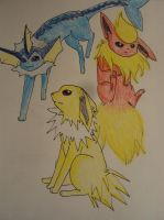 Elemental Stone Eevees by SmallfireCloudwish