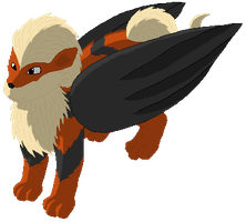 Winged Arcanine by VisionOfInsanity