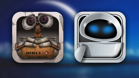 wall-e and Eve iOS icons by hdmtbp