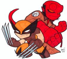 Chibi-Hellboy and Wolverine. by hedbonstudios