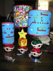 Ceramic Mario Theme lamps by AnimeGeer