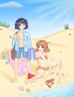 Boy and girl at the beach by MagicMoonBird