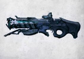 Speed painted sci-fi rifle by torvenius