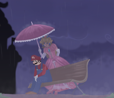 Under Peach's Umbrella by Cosmic-Ribbons