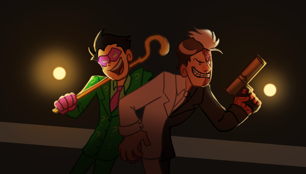Two Face And  The Riddler by pink-ninja