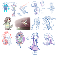 Many Undertale Doodles (livestream #7) by Kaweii