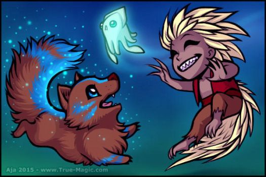 Chibi Demon and Wolf by Vanilleon