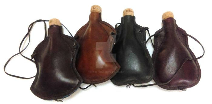 Cuir Bouilli Leather Flasks by OfTheGodsBlood
