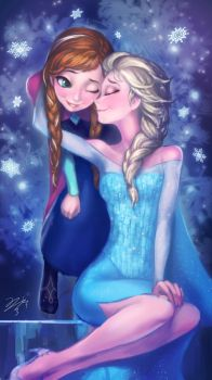 frozen-elsa with anna by pmo0908