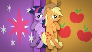 Applejack and Twilight Sparkle Wallpaper by Spntax