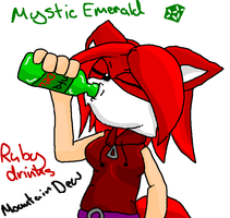 Ruby Drinks Mountain Dew -shade- by mitchika2