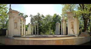 Amphitheater In The Royal Lazienki Park - Panorama by skarzynscy