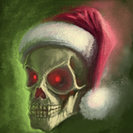 Glowing Skull with Santa's Cap by aceIII
