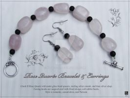 Rose Quarts Bracelet and Earring Set by KAW-7391