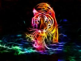 Fractal Tiger in water by MiniMoo64