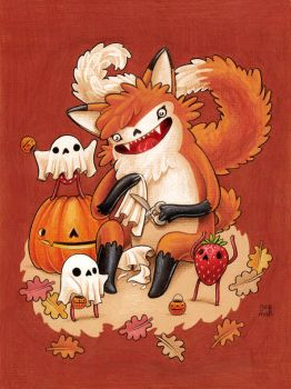 Fox making ghost costumes for strawberries-sketch by grelin-machin