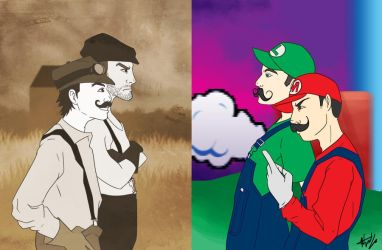Wright Bros vs. Mario Bros by Nellufy