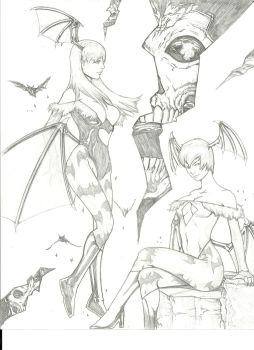 Morrigan and Lilith by SILVERXBULLET91