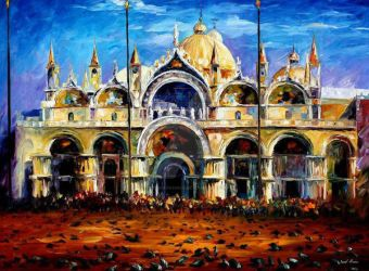 Venice - Pigeons On San Marco Square by Afremov by Leonidafremov