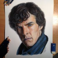 Sherlock Pencil Drawing by AtomiccircuS