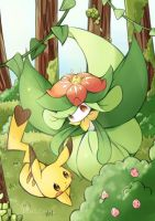 pikachu and lilligant by destizeph