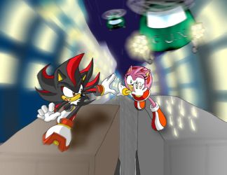 Shadow-Amy chased by G.U.N. by Tigerfog
