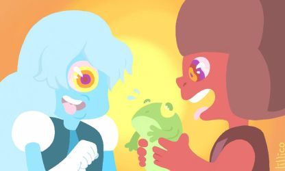 ruby and sapphire lick frogs by Child-Of-Neglect