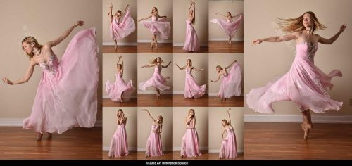 Stock:  Poppy Seed 12 Ballet Poses in Pink Gown by ArtReferenceSource